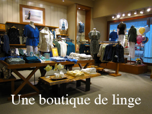 Dicitionnaire québécois : linge, un boutique de linge, tu as du beau linge