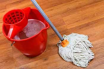 Une chaudière et une moppe ( ou vadrouille)