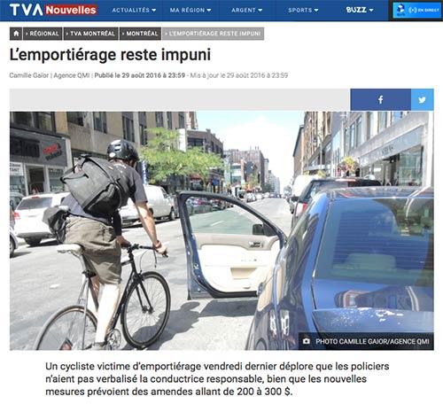 Emportiérage : incident survenant lorsqu'un cycliste heurte une portière subitement ouverte sur sa trajectoire par l'occupant d'un véhicule automobile à l'arrêt.
