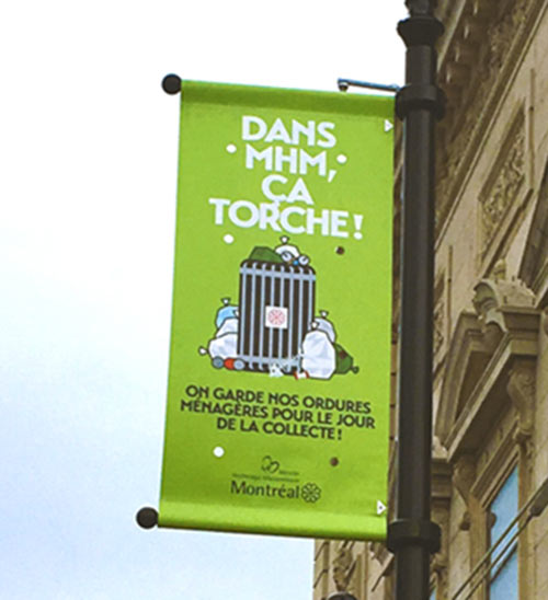 Utilisation du verbe ça torche dans un slogan publicitaire québécois. Un sens incompris par les Français.