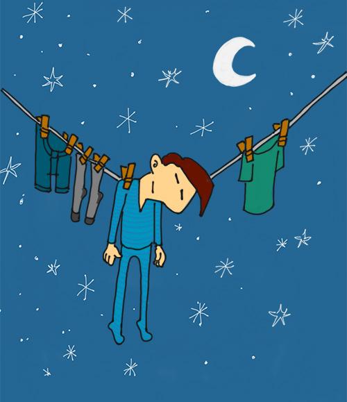 Expression québécoise : dormir sur la corde à linge