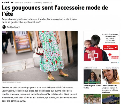 Dans la langue québécoise, le mot gougoune est synonyme du tong français.