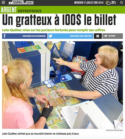 Un comptoir à gratteux : billet de loterie à gratter : dictionnaire québécois