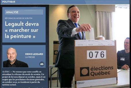Article de La Presse qui titre : Legault (le Premier ministre du Québec) devra marcher sur la peinture. Une expression québécoise qui signifie que, parfois, il n'y a pas d'autre solution pour se sortir du pétrin que de se ridiculiser.