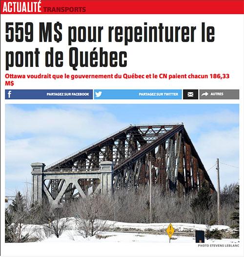 Entête d'un article de journal : 559 millions de dollars pour peinturer le pont de Québec. Les Québécois utilisent le verbe peinturer comme synonyme de peindre.