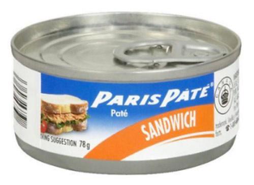 Une boite de conserve de Paris Pâté. Au Québec, nous utilisons le mot «canne» comme synonyme de conserve.