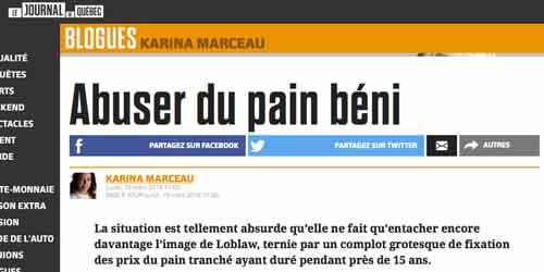 Entête du journal de Québec dont le titre est «abuser du pain béni», un titre qui joue sur le jeu de mote de l'Expression «abuser du pain béni» et que le cartel québécois du pain se sont entendu pour vendre le plain plus cher pendant 15 ans.