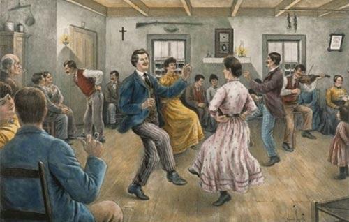 Une aquarelle de 1915 montrant un groupe dansant durant une veillée d'autrefois. Illustration choisie pour illustrer la vieille expression Swigne la bacaisse dans le fond de la boîte à bois.