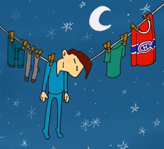 Illustration de l'expression québécoise « passer la nuit sur la corde à linge ». Un homme dort, accroché à une corde à linge au milieu de ses vêtements, en pleine nuit.
