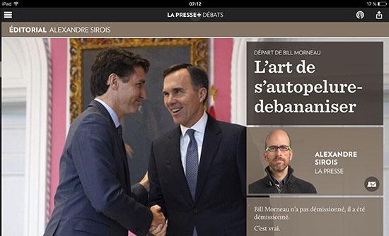 Le titre d'un article « l'art de s'autopelure-de-bananiser« illustre bien la démission du ministre Morneau, ministre forcé de quitter son poste par ses propres bêtises.
