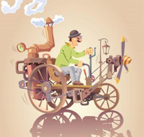 Un homme est au volant d'un étrange engin de sa conception. L'inventeur est un patenteux, un not québécois qui signifie inventeur, bricoleur, qui crée ou répare à partir des moyens du bord.