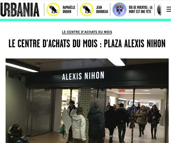 Titre d'un article : le centre d'achats du mois.