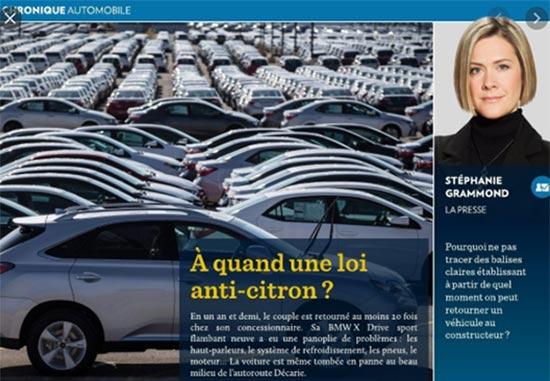 À quand une loi-anti-citron ? Article paru dans La Presse.