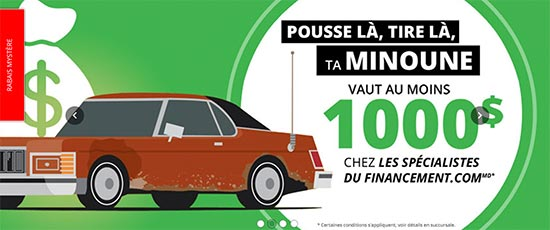 Publicité encourageant les gens à vendre leur minoune en échange d'un véhicule neuf.