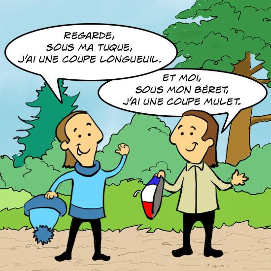 Les deux cousins Jules, un Québécois et un Français, discutent de la coupe Longueuil. Le Québécois dit : « regarde, sous ma tuque, j'ai une coupe Longueuil. Le Français répond : « et moi, sous mon béret, j'ai une coupe mulet.»