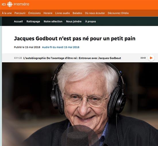 Titre d'un article de Radio-Canada : Jacques Godbout n'est pas né pour un petit pain