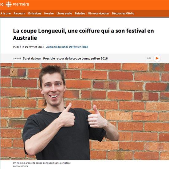 Titre de l'article : La coupe Longueuil, une coiffure qui a son festival en Australie