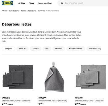 Annonce de débarbouillettes chez IKEA