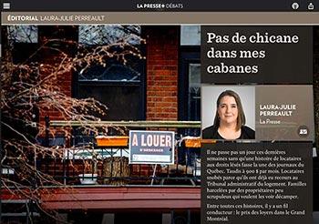 Pas de chicane dans mes cabanes : titre d'un article de La Presse