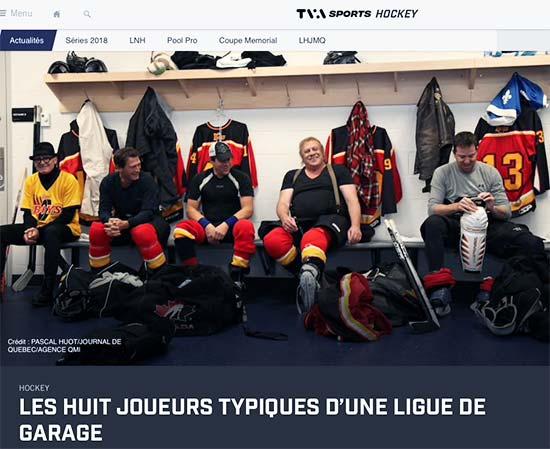 Joueurs de hockey d'une ligue de garage dans un vestiaire