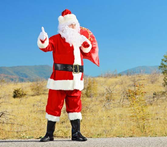 Le père Noël fait du pouce